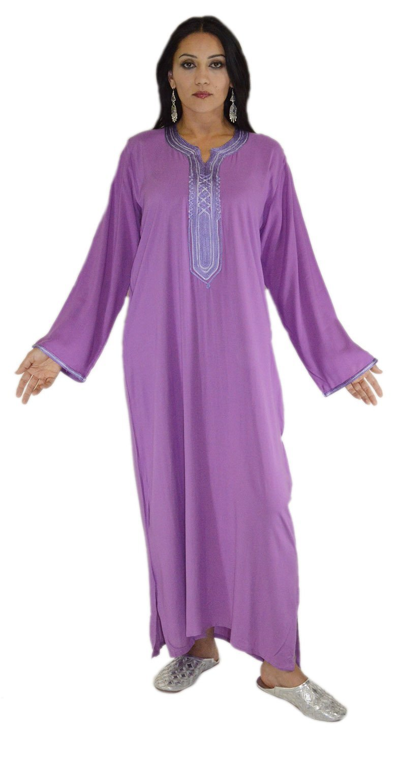 Moroccan Caftans Women Handmade with Embroidery Cotton Breathable Small to Large Purple