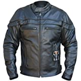 STURGIS MOTORCYCLE TOURING JACKET CE 1621-1 HARD ARMOUR TOP GRAIN CHROME NAKED COWHIDE LEATHER