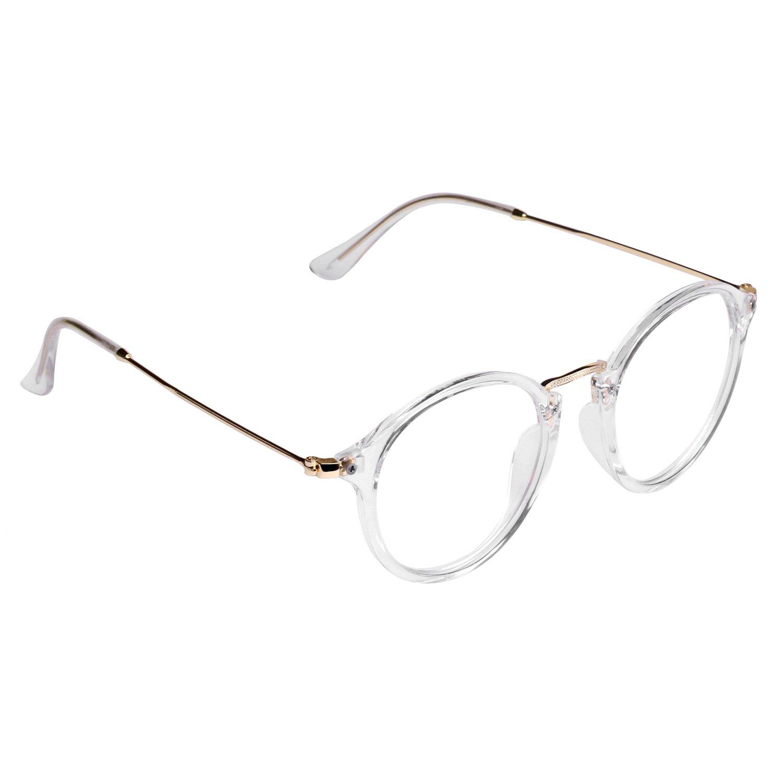 Forepin/® Lunettes de Vue Rondes Unisex Cadre Frame Lentille Claire pour Homme et Femme Vintage L/éopard