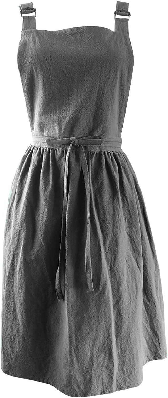 Soft Cotton and Linen Bib Chef Apron Adjustable Cross Straps Home Kitchen Aprons Pinafore Vintage Buckle Gardening Apron Dress
