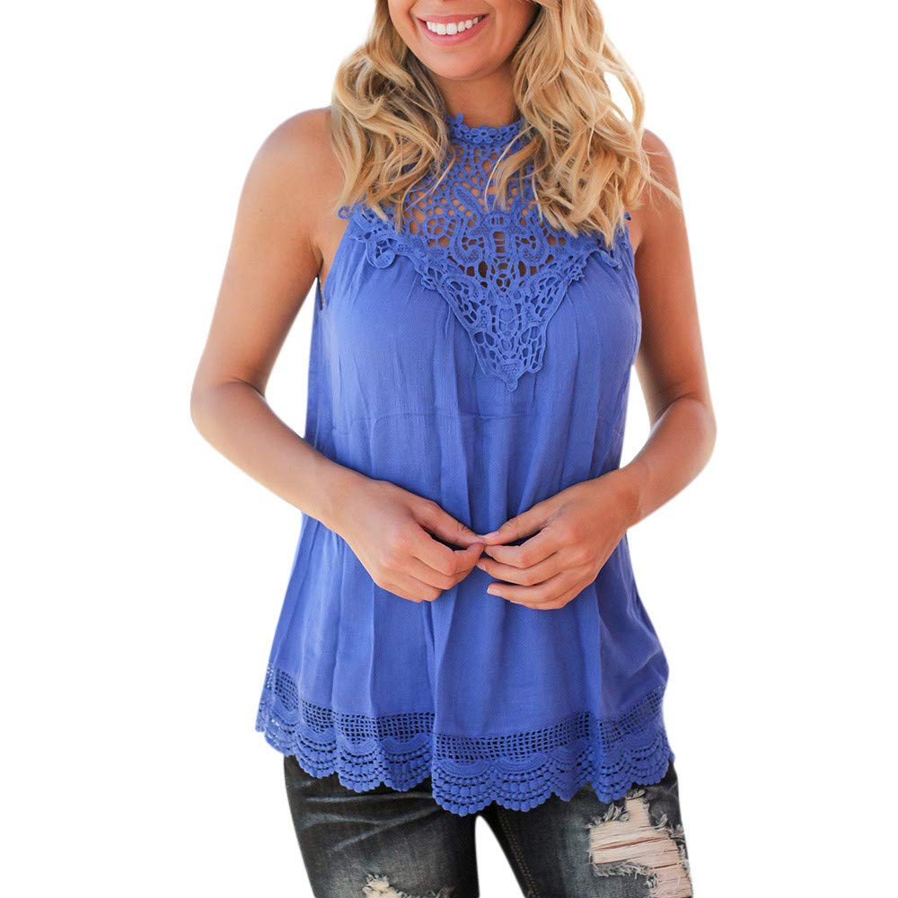 T Shirts for Women Casual Solid Sleeveless Lace Stitching Ruffled Crochet Tank Tops Blouse Blue