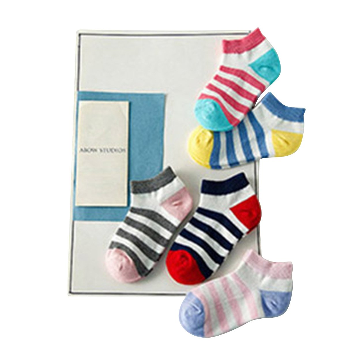 5Pairs Children Cotton Socks Polka Dots Plain Stripes Sock For 1-10Year Girl Boy 915#
