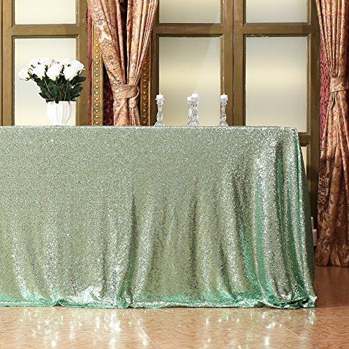 Eternal Beauty 48'' X 72'' Mint Green Sequin Tablecloth Wedding Banquet Party Rectangle Table -