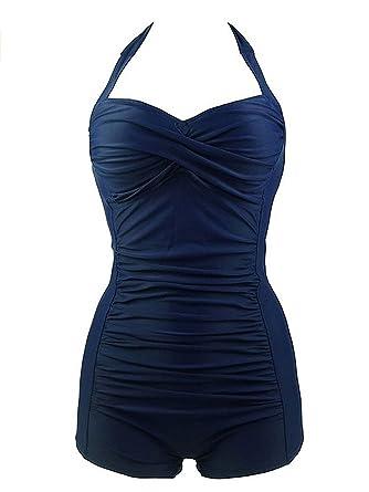 da445db61f2 Zando Women Sexy Pin up Retro Swimsuit with Boyshort Lady s Stylish Vintage  Plus Size Halter One