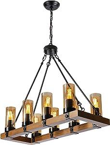 XIPUDA 8-Light Farmhouse Chandelier Kitchen Island Light Fixture, Wood Table Chandeliers, Candle Pendant Light, Cognac Glass Lampshade Lodge Ceiling Kitchen Island Lighting