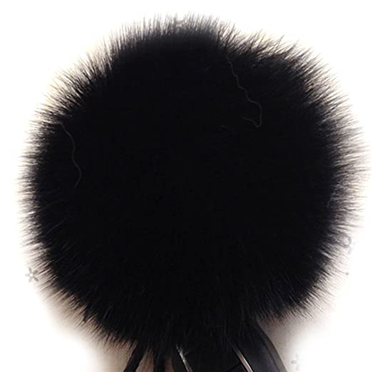 Dikoaina Faux Fox Fur Pom Pom Keychain Bag Purse Charm Gold Ring Fluffy Fur  Ball 9eba68c76f