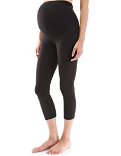 61f2f2167b55a My Bella Mama Maternity Capri Leggings Cropped Yoga Pants - Fold ...