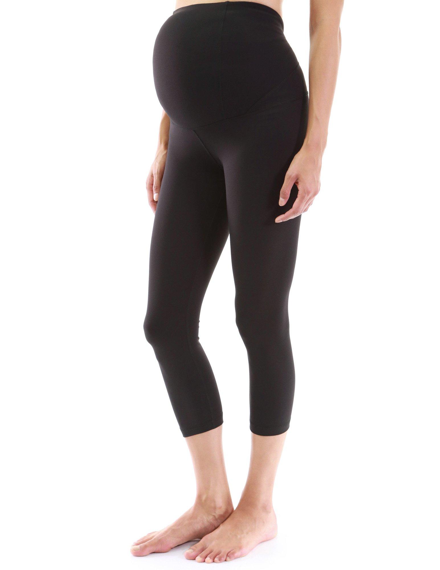 PattyBoutik Mama Shaping Series Maternity Crop Legging Yoga Pants (Black L)