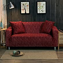 Knitted stretch sofa covers surefit ,Sofa slipcovers throw,Anti-Slip stain resistant 1-Piece furniture protector full cover for living room-Wine pillow case 17.7*17.7 in