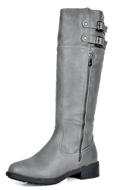0d7de600e89 DREAM PAIRS Women s New Bradenn Grey Knee High Double Buckles Zipper Boots  Wide Calf Size 5.5