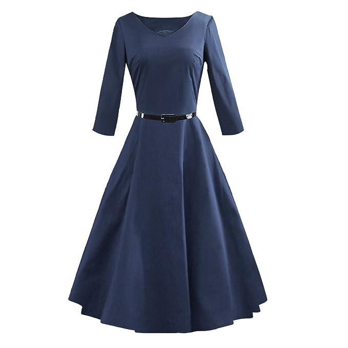 VB Las mujeres Falda de manga larga correa péndulo grande color sólida delgada cintura Ocultar,
