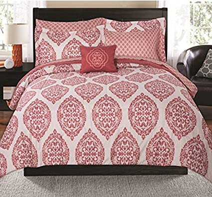 1c0783f661 Image Unavailable. Image not available for. Color: Keeco Mainstays Global Damask  Bed in a Bag Coordinating Coral Full Bedding ...