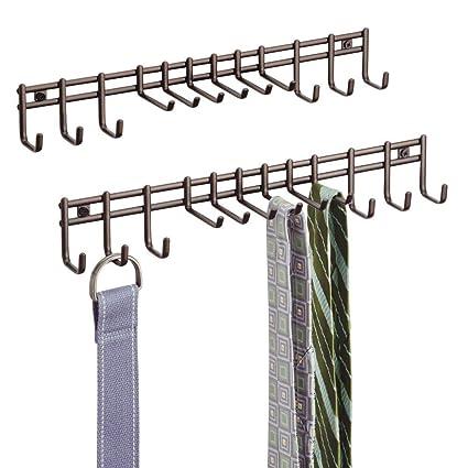 mDesign Perchero de pared - Práctico colgador de cinturones y corbatas - Corbatero para colocación en