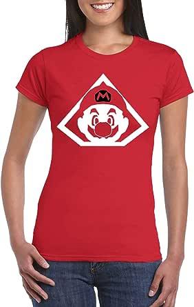 Red Female Gildan Short Sleeve T-Shirt - Mario Triangle design