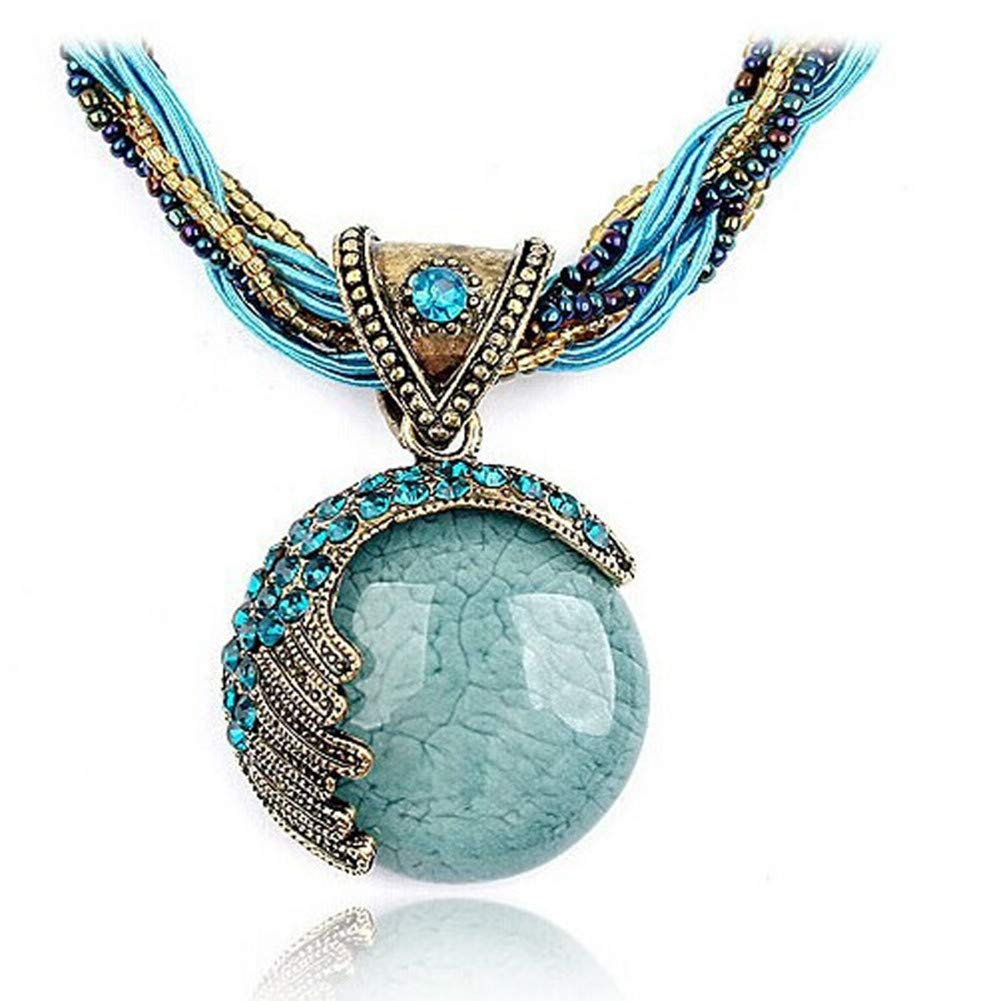 Clearance! Paymenow Women Retro Bohemian Natural Crystal Stone Tassel Pendant Necklace Handmade Long Sweater Chain Necklace Jewelry Gift (Blue)