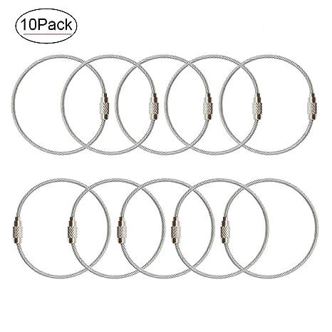 Amazon.com: Llaveros de alambre de acero inoxidable de 6,8 ...