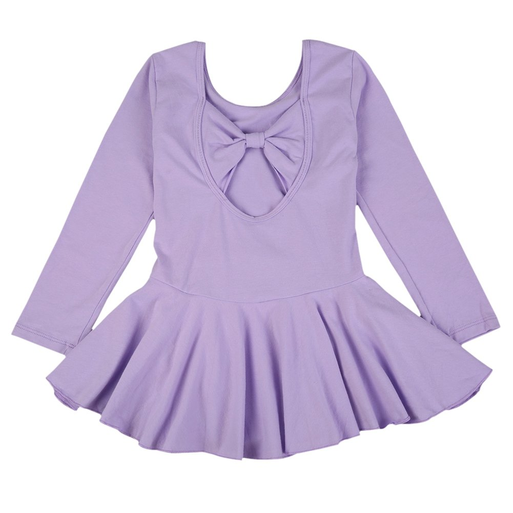 Hougood Girls Ballet Dress Dance Leotard with Skirt Child Gymnastics Long-sleeved Bodysuit Classic Dance Costume Solid Color Basic Style Ballet Outfit Dancewear Age 4-10 Years