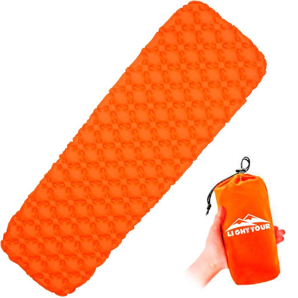 LIGHT TOUR Inflatable Sleeping Pad – Ultralight Sleeping Mat, Portable Air Mattress, Lightweight & Waterproof for Backpacking Hiking Camping Outdoor Travel - Orange