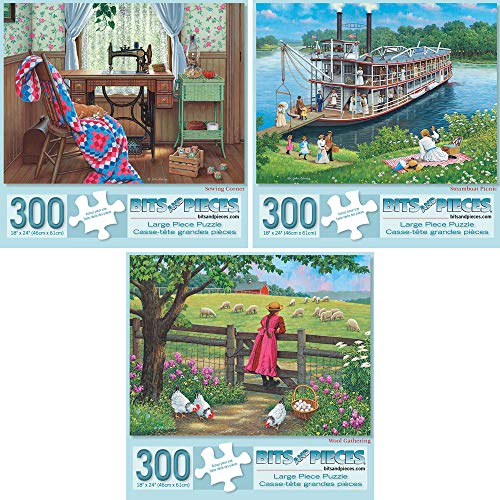 Bits and Pieces - Set of Three (3) 300 Piece Jigsaw Puzzles for Adults - Each Puzzle Measures 18 X 24 - 300 pc Americana Jigsaws by Artist John Sloane