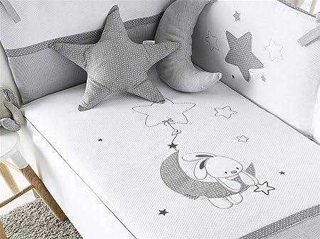 Pirulos Luna Bonito Conjunto Edredón + Protector/Chichonera + Cojín para Cuna Bebé de 60x120 cm, Color Blanco y Gris