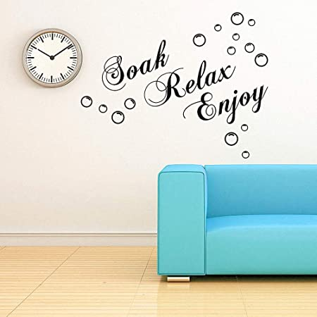 Lapopnut Wall Stickers Soak Relax Enjoy Quote Series Lettering