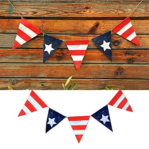 ekqw015l American Independence Day Patriotic Banner Decoration-4th of July Independence Day Star Stripes Flags Pennant Bunting Banner Decor Party Dector