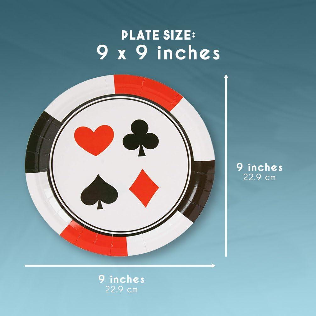 Motif nuit de poker dans un casino de Las Vegas 23 cm Lot de 80/assiettes jetables