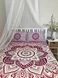 Queen / Full size Mandala Tapestry, Mandala Wall Art, Hippie Wall Hanging ,Bohemian Bedspread ,Indian Cotton Bedspread with 2 Pillow Covers, by ''Tanya Handicrafts''