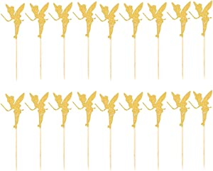 TINKSKY 20pcs Cake Inserted Card Angel Fairy Cake Topper Glitter Paper Pick Party Favor Wedding Birthday Cake Decor