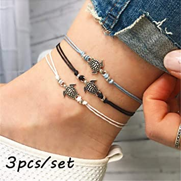 3pcs Simple Silver//Gold Womens Ankle Bracelet Anklet Foot Chain Beach Beads S