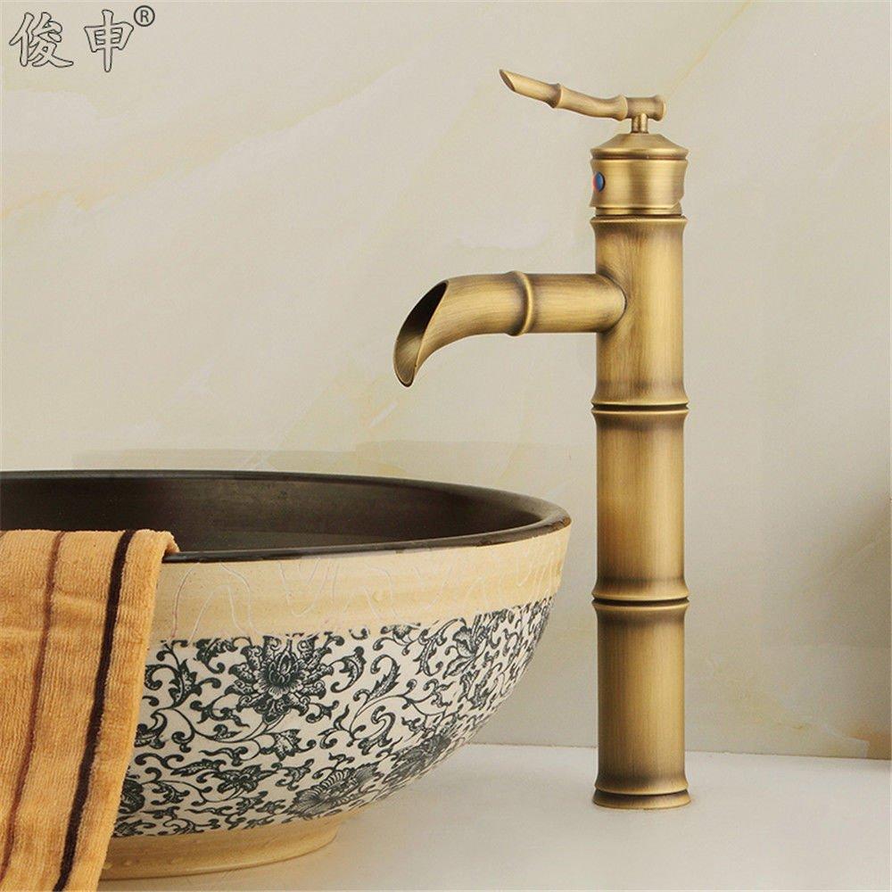 AQiMM Waschtischarmatur Wasserhahn Antik Messing - Einzelne Bohrung Heißes Und Kaltes Wasser Mischbatterie Waschbeckenarmatur Für Badezimmer Waschbecken
