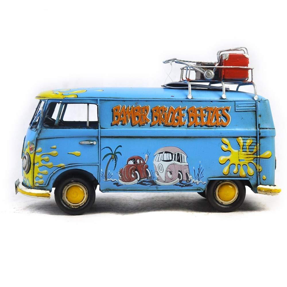 VJUKUBWINE Antiguuml;edad 1967 Volkswagen Luxury Bus Modelo hojalata Hecho a Mano Retro Hierro Arte Inicio Coche decoración decoración Decoraciones fotografía Props 32  12.5  18cm