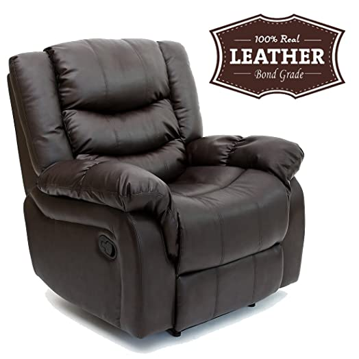 SEATTLE LEATHER RECLINER ARMCHAIR SOFA HOME LOUNGE CHAIR RECLINING GAMING (Brown)  sc 1 st  Amazon UK : leather recliner uk - islam-shia.org