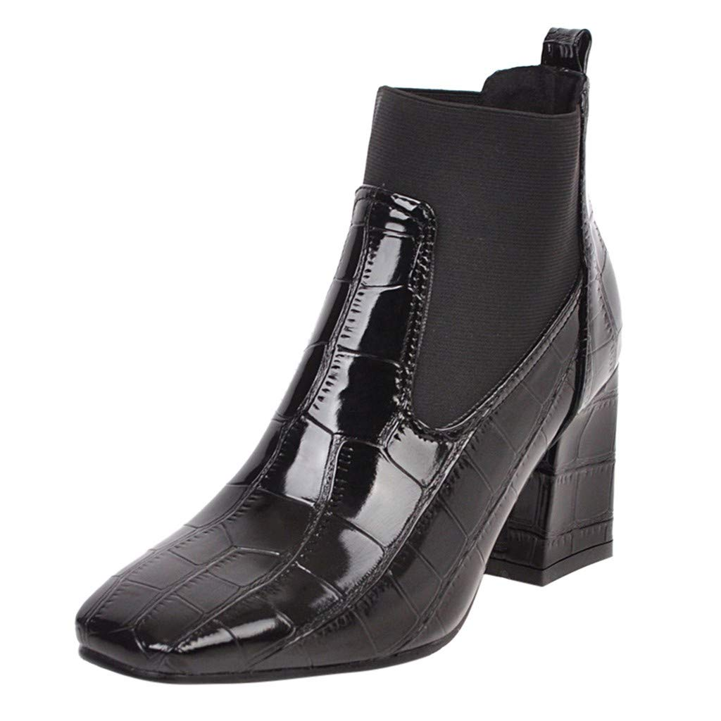 ZOMUSAR Women's Boots, Fashion Women Square Heels Zipper Crocodile Pattern Short Boots Square Toe Shoes Black by ZOMUSAR