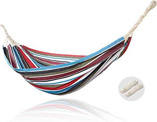 Extra Large Brazilian Cotton Hammock for Travel Camping Patio Porch Garden Backyard Lounging Outdoor and Indoor 2 Tree Straps Included