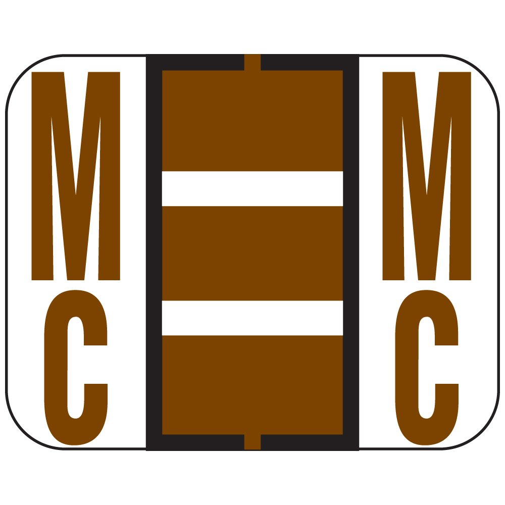 TAB COMPATIBLE TPAM-MC2 1838 Permanent Color Code Label, Alphabet,''MC'', 1 1/4'' x 1'', Brown (Pack of 500)