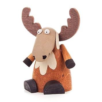 Amazonde Elch Sitzend Figur Aus Holz Weihnachtsdeko Von Dregeno