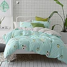 MKXI Soft Cotton Reversible Duvet Cover Aqua Floral Garden Bedding Set Queen