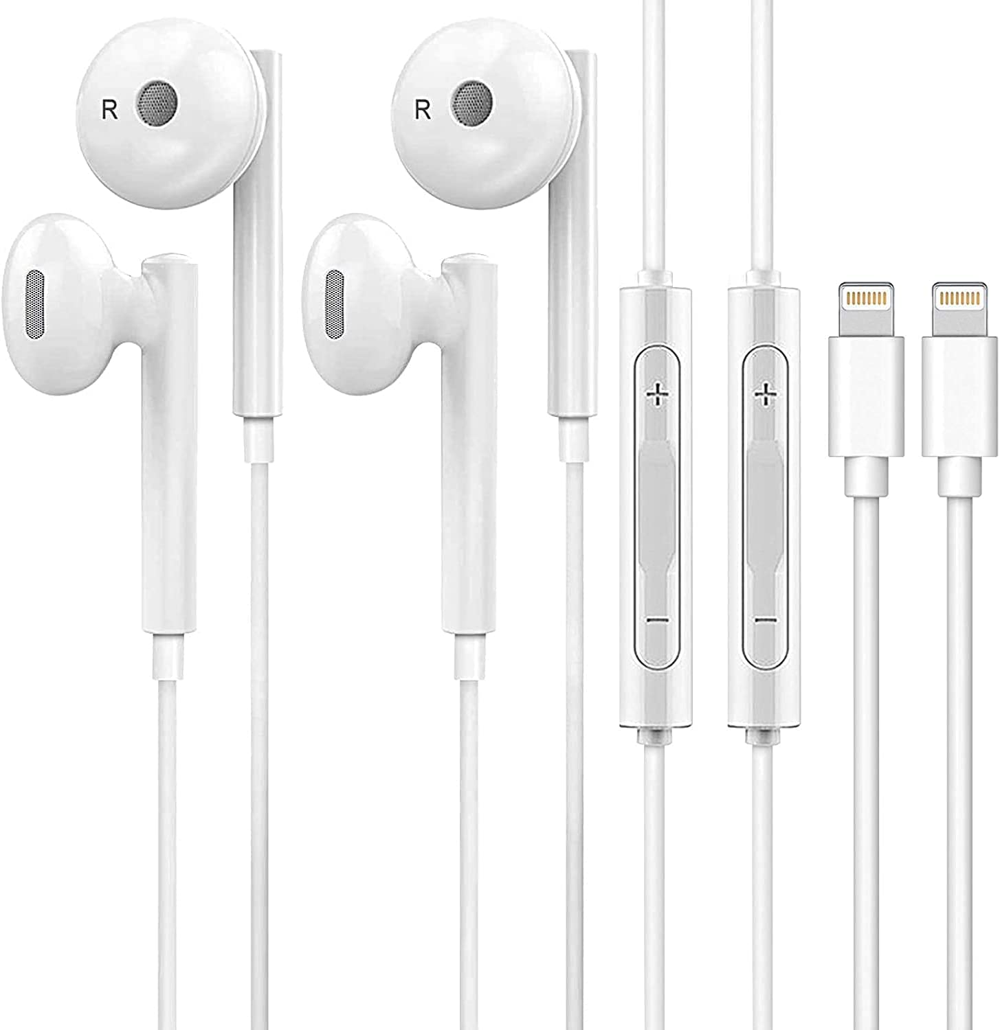Wired Earbuds Earphones 2 Pack Stereo Sound Bass, Noise Isolating Headsets for Calling and Music Listening