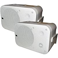 Poly-Planar B0X 200W White Waterproof Full Size Box Speakers Pair