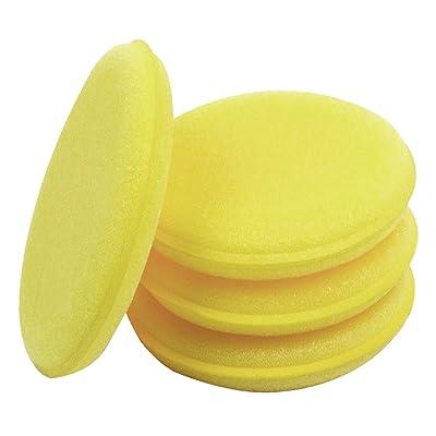 Lantee Car Wax Applicator - 24 Pcs Round Sponge Wax Applicator Pads Yellow: Automotive