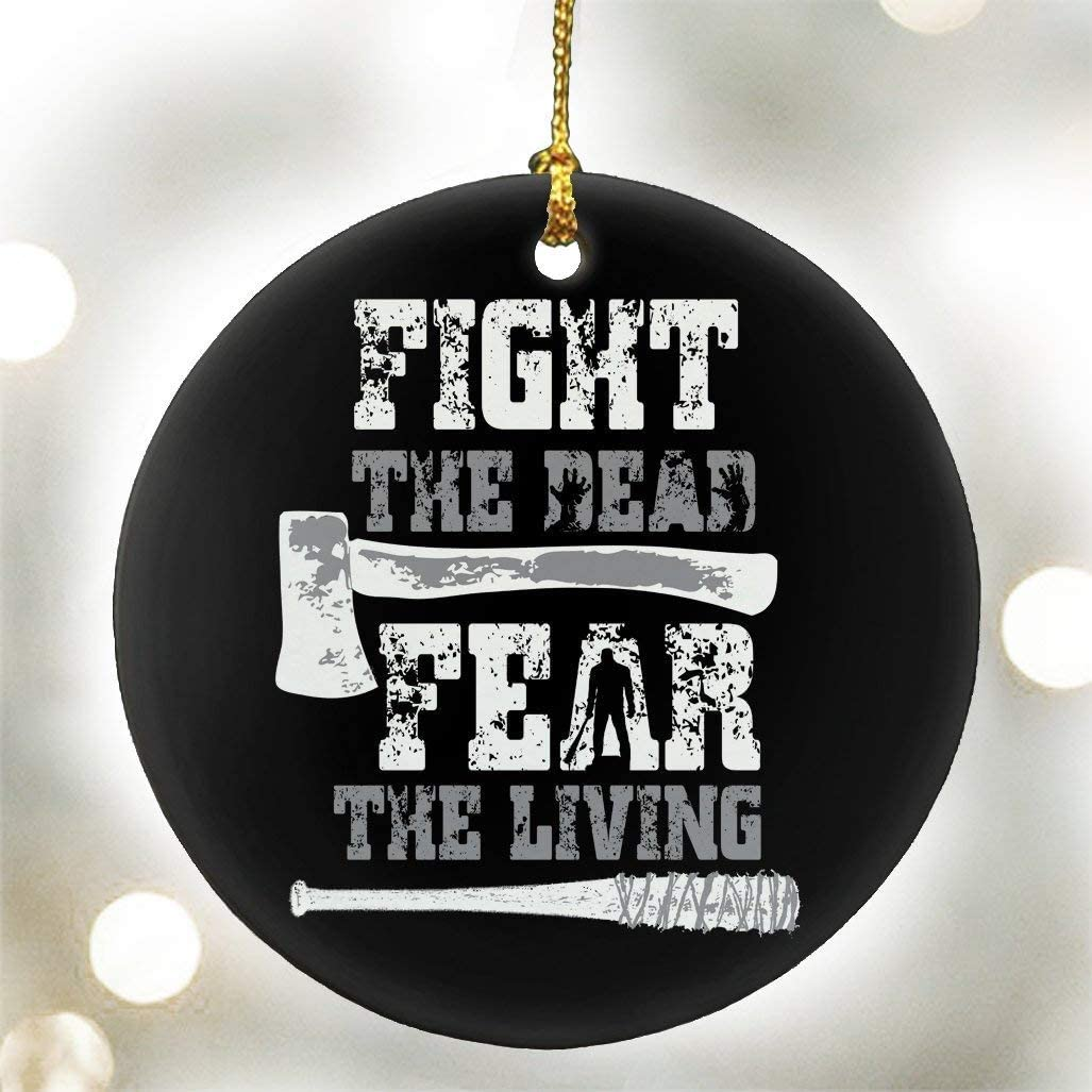 DKISEE Fight The Dead Fear The Living - (Black) The Walking Dead Parody - Ceramic Ornament 3 inches