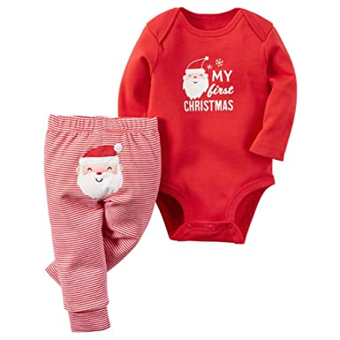 78b8abe7e62c Amazon.com: Newborn Baby Boys Girls My First Christmas Bodysuit and Plaid  Pants Leggings Headband Hat 4pcs Christmas Outfits Set: Clothing