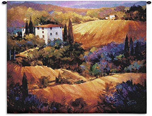 Evening Glow by Nancy O'Toole | Woven Tapestry Wall Art Hanging | Colorful Tuscan Countryside Sunset | 100% Cotton USA Size 53x53