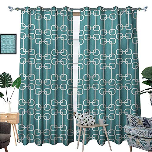 BlountDecor Turquoise Thermal Insulating Blackout Curtain Vintage 58s Home Design Inspired Retro Squares and Circles Tile Like Image Patterned Drape for Glass Door W96 x L108 Teal and ()