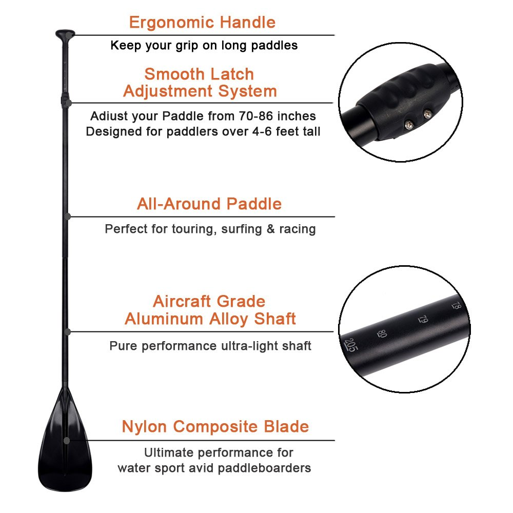 Adjustable SUP Paddle - SUP Accessories 3 Piece Alloy Stand Up Paddleboard Paddle for Water Sports Equipment Inflatable SUP Kayak w/Aluminum Shaft | Nylon Blade | Adventurer Series by Sudoo (Image #2)