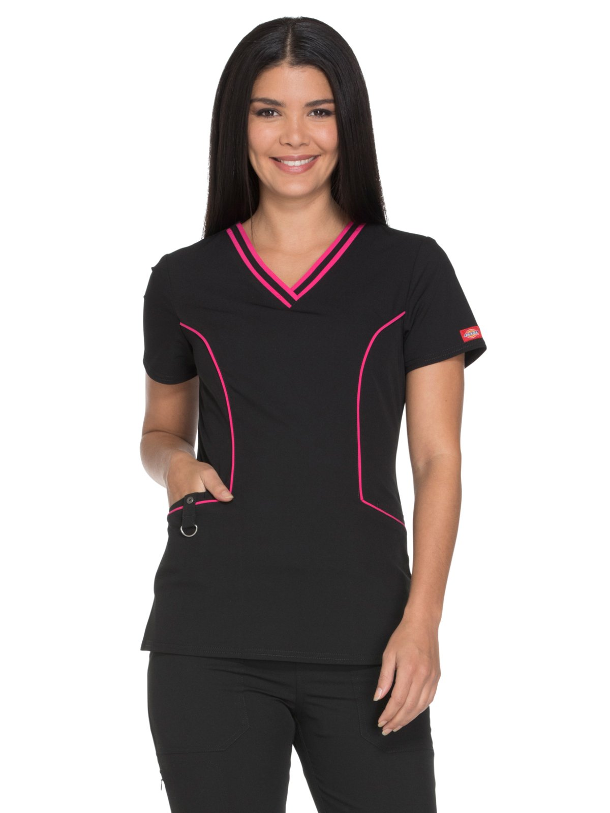 Dickies Xtreme Stretch Women's V-Neck Solid Scrub Top Medium Black