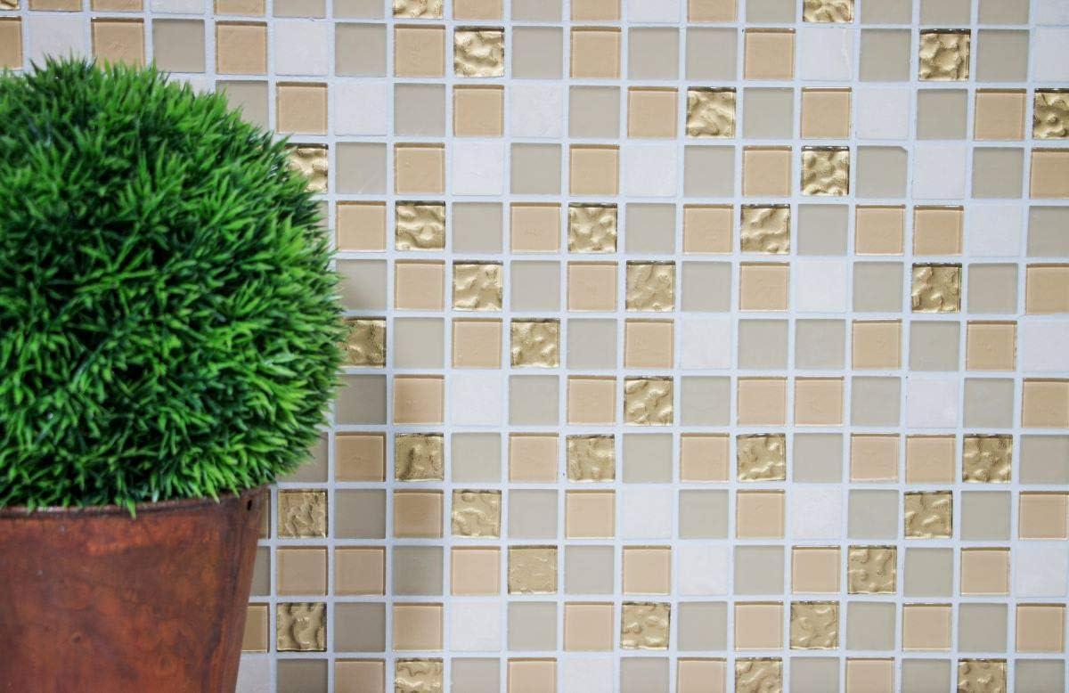 Mosaik Fliese selbstklebend Transluzent Stein wei/ß gold Rechteck Glasmosaik Crystal Stein beige braun f/ür WAND K/ÜCHE FLIESENSPIEGEL THEKENVERKLEIDUNG Mosaikmatte Mosaikplatte 10 Mosaikmatten