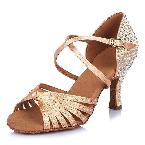 af1df3ab8b HIPPOSEUS Donna Standard Scarpe da Ballo Latino,Strass, Apri Le Dita dei  Piedi,