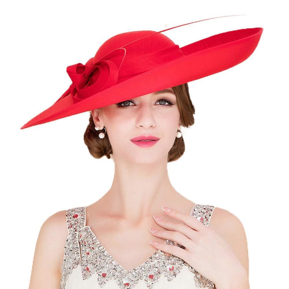 Royal Ladies Sinamay Weddings Hats Fascinators Big Brim Kentucky Derby Church Fedoras Hat Red